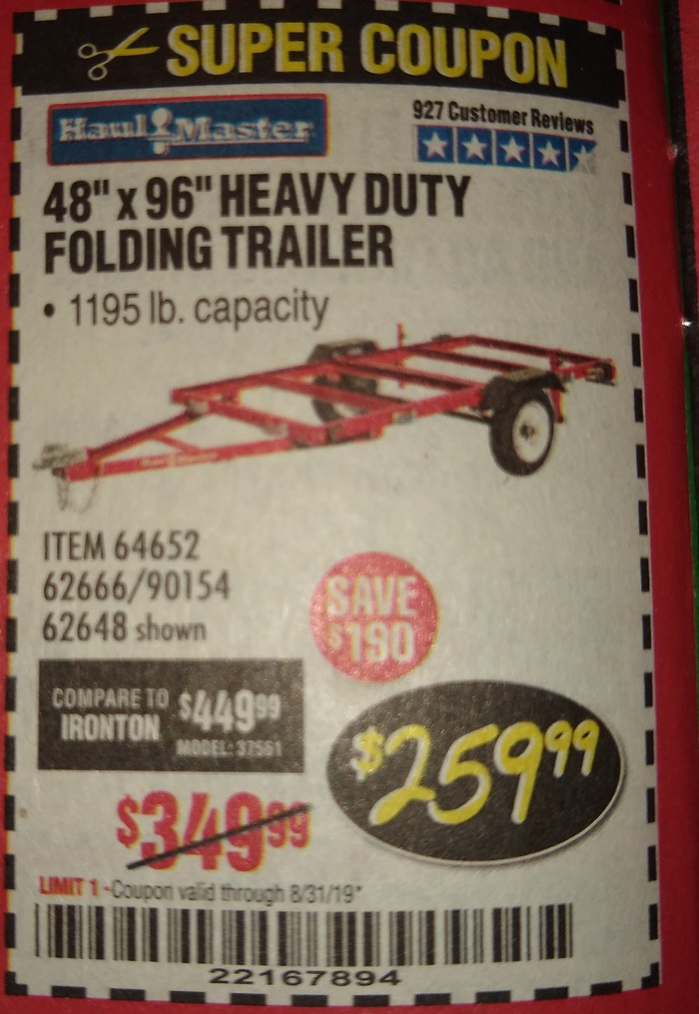 Harbor Freight Coupon, HF Coupons - 1195 Lb. Capacity 4 Ft. X 8 Ft. Heavy Duty Foldable Utility Trailer