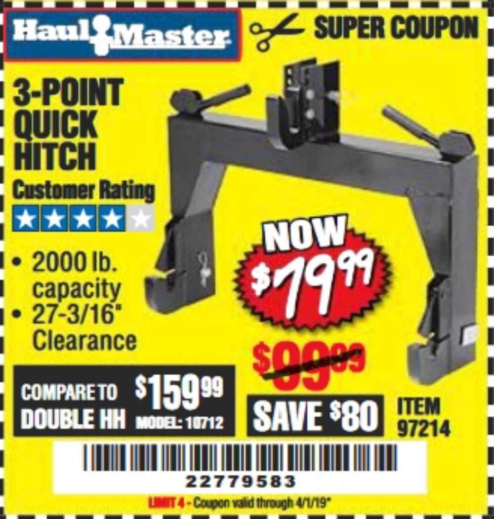 Harbor Freight Coupon, HF Coupons - 3-point Quick Hitch