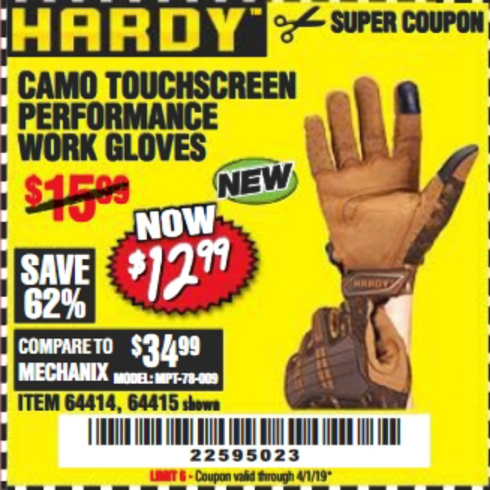 Harbor Freight Coupon, HF Coupons - Camo Touchscreen Performance Work Gloves