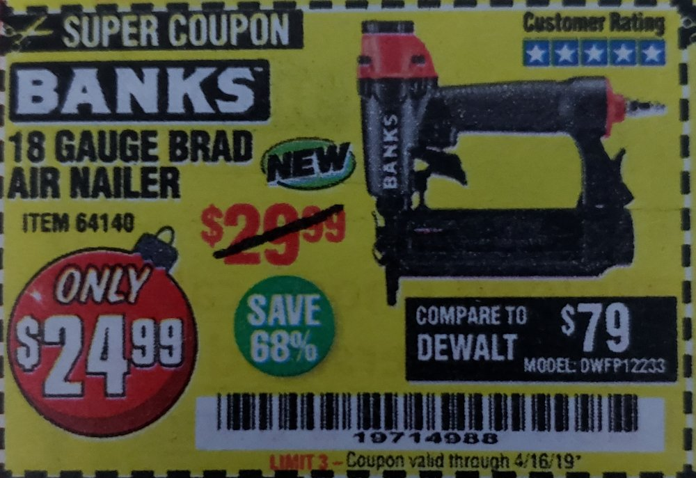 Harbor Freight Coupon, HF Coupons - 18 Gauge Brad Air Nailer