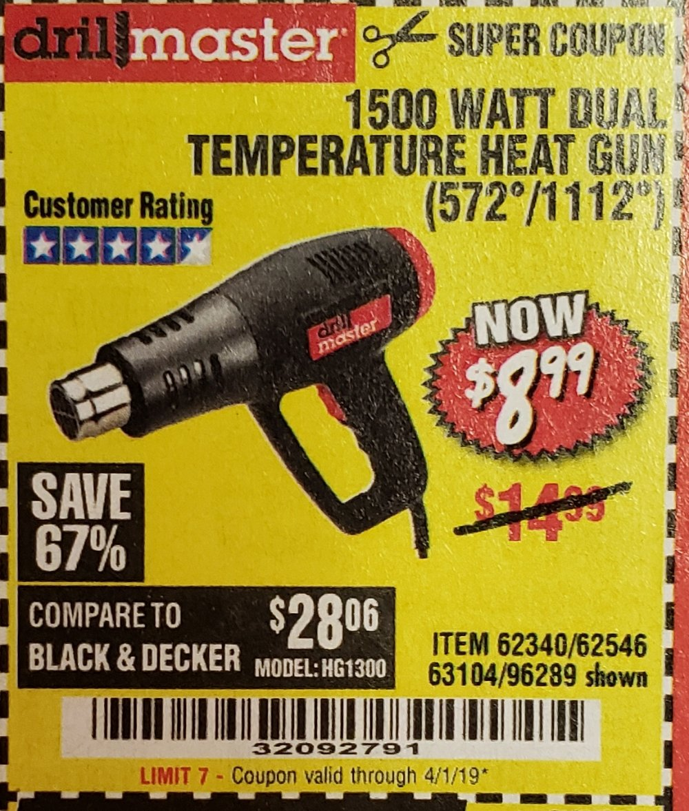 Harbor Freight Coupon, HF Coupons - 1500 Watt Dual Temperature Heat Gun (572/1112)