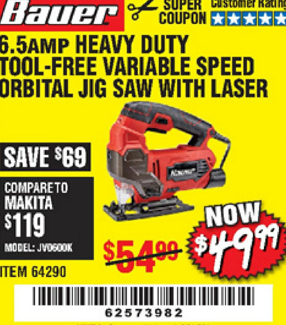 Harbor Freight Coupon, HF Coupons - Bauer corded jigsaw