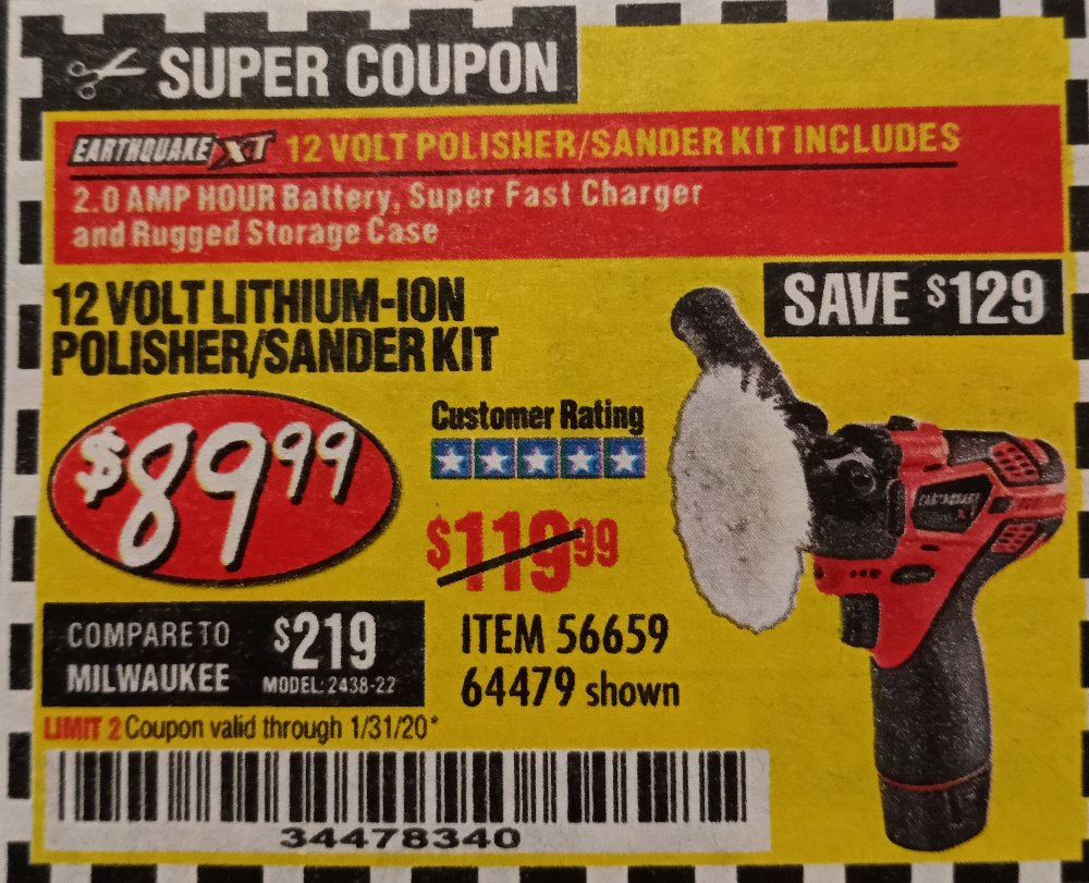 Harbor Freight Coupon, HF Coupons - 12 Volt Lithium Cordless Polisher/sander Kit