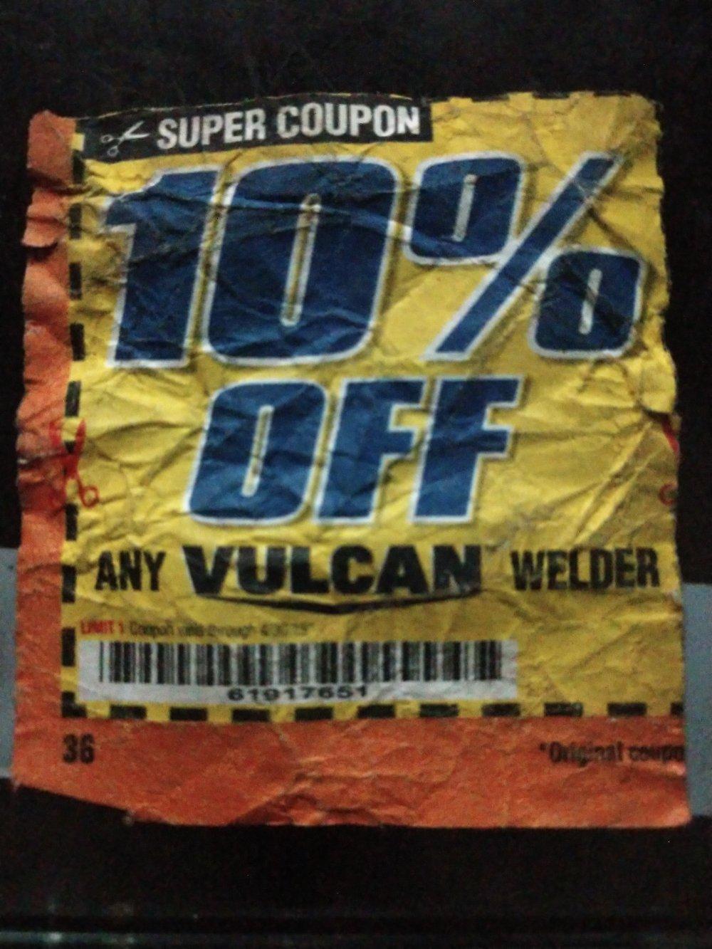 Harbor Freight Coupon, HF Coupons - 10% off Vulcan welder