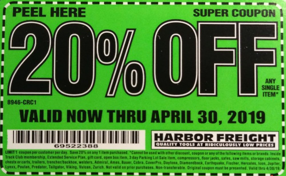 Harbor Freight Coupon, HF Coupons - 20% Super Coupon