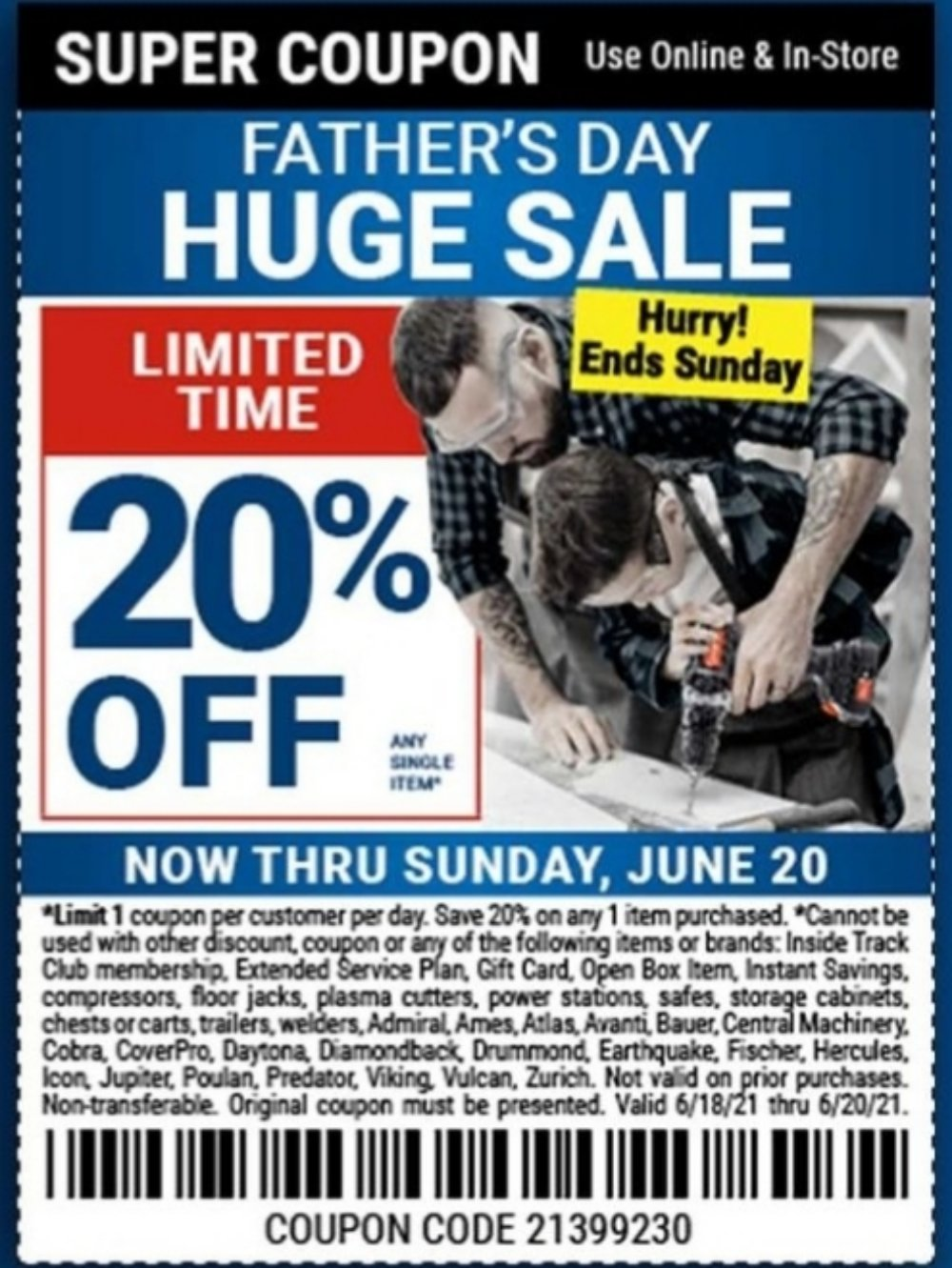 Harbor Freight Coupon, HF Coupons - Fathers Day 20% coupon