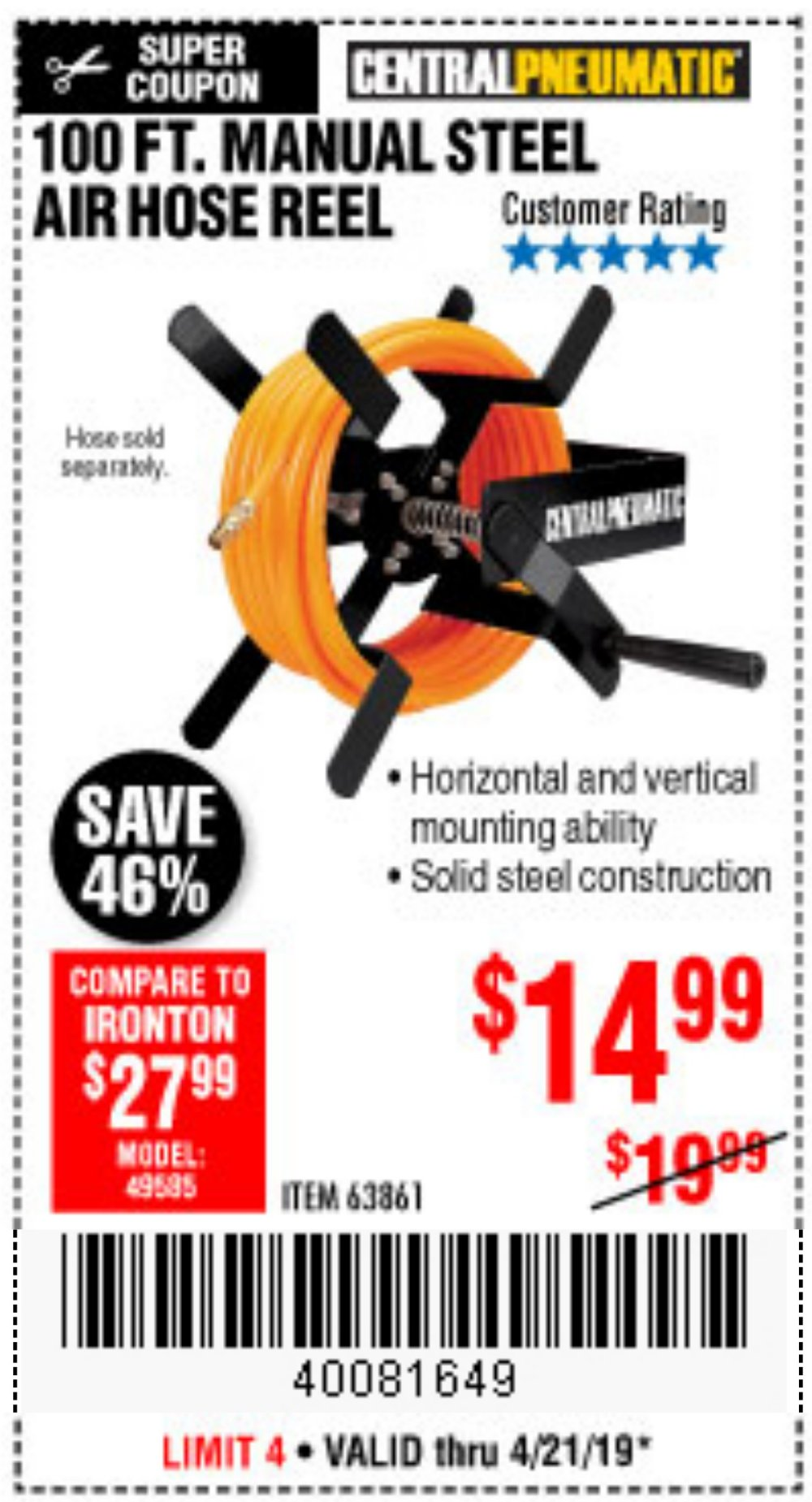 Harbor Freight Coupon, HF Coupons - 100 Ft. Manual Steel Air Hose Reel