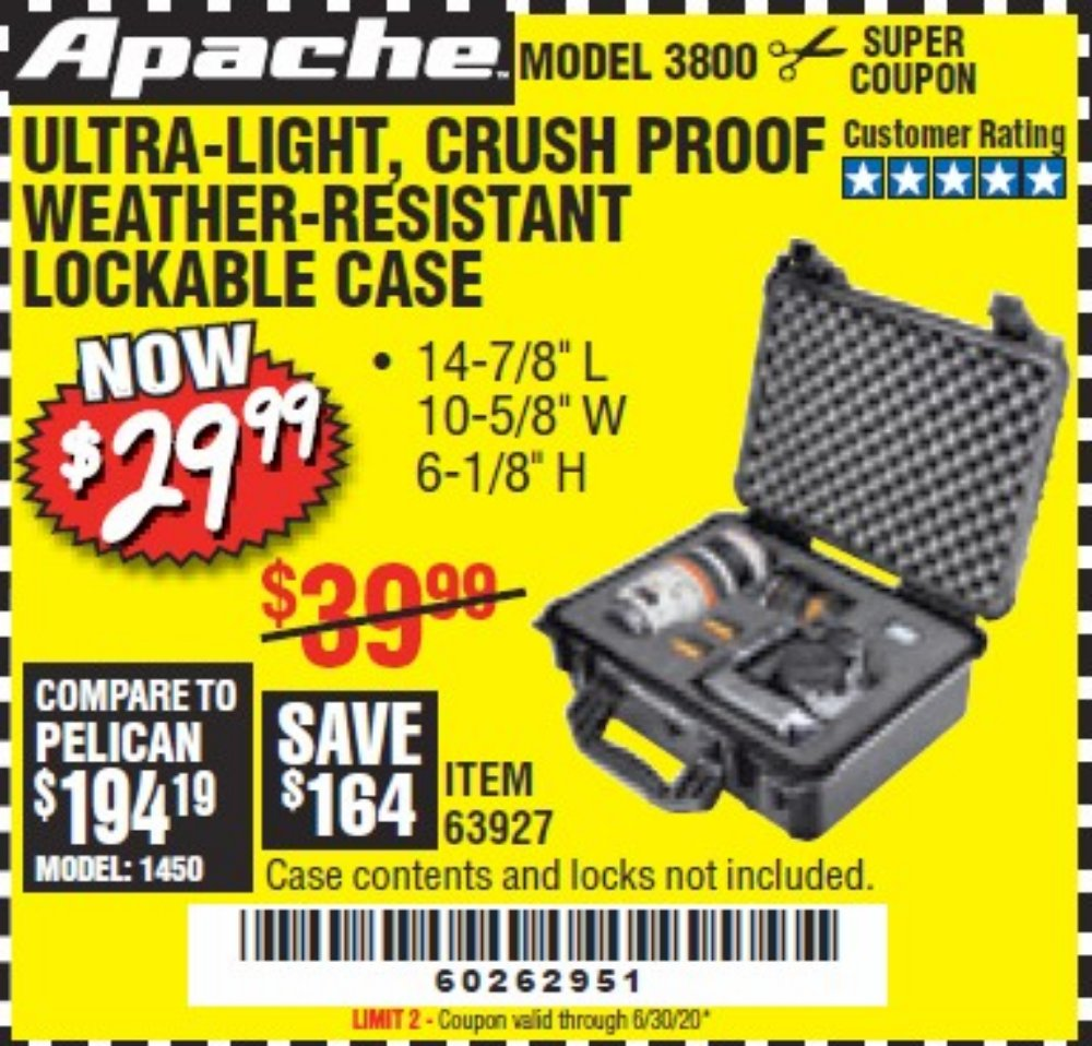 Harbor Freight Coupon, HF Coupons - Apache 3800 Weatherproof Protective Case
