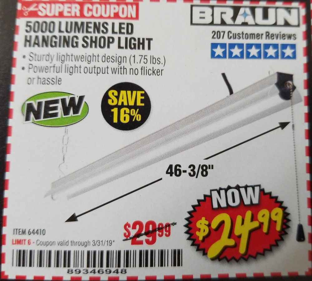 Harbor Freight Coupon, HF Coupons - Braun 5000 Lumens Led Hanging Shop Light