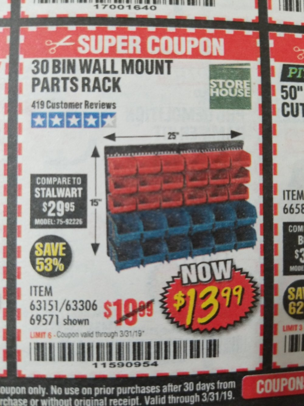 Harbor Freight Coupon, HF Coupons - 30 Bin Wall Mount Parts Rack