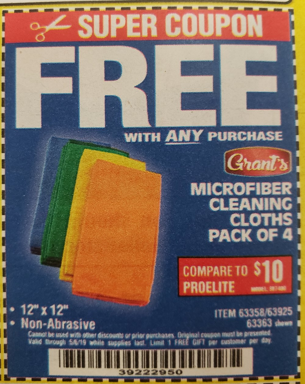 Harbor Freight Coupon, HF Coupons - FREE - Microfiber Cleaning Cloth 12x12 4 Pk.