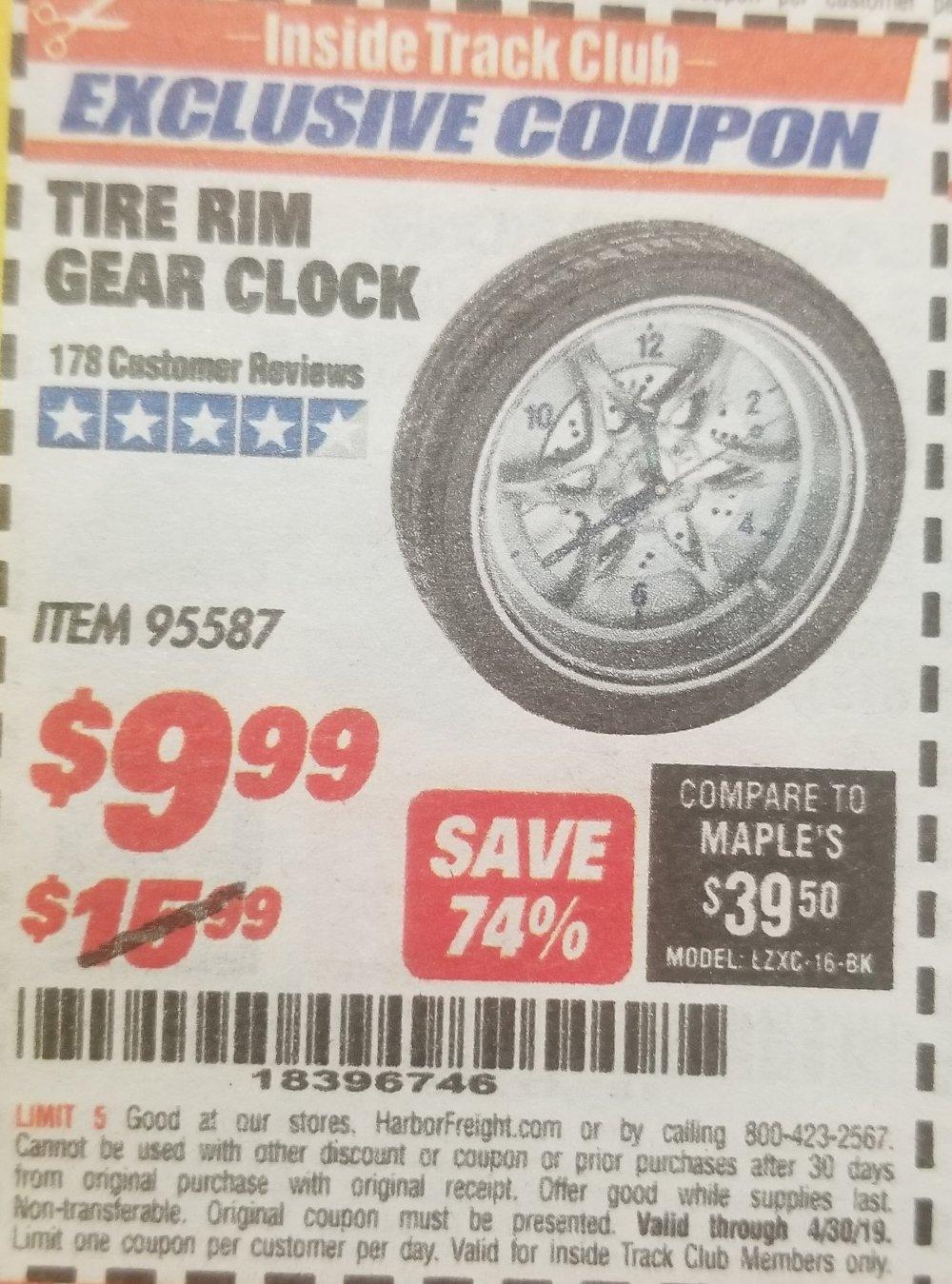 Harbor Freight Coupon, HF Coupons - Tire Rim Gear Clock