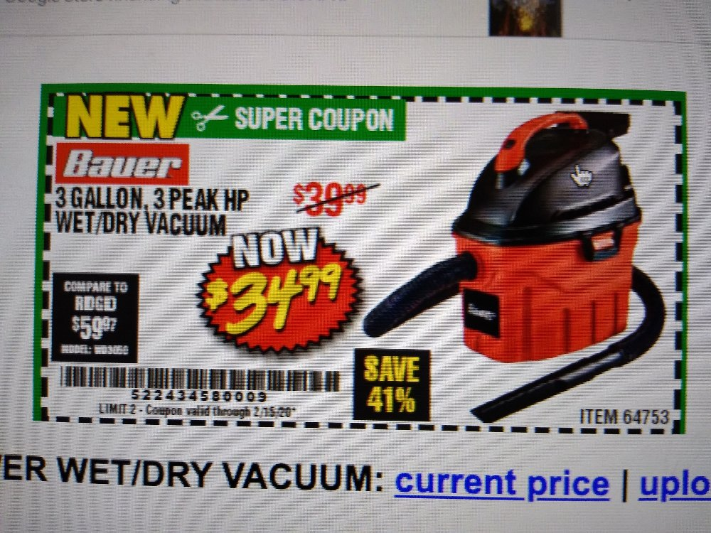 Harbor Freight Coupon, HF Coupons - 3 Gallon Wet/dry Vacuum