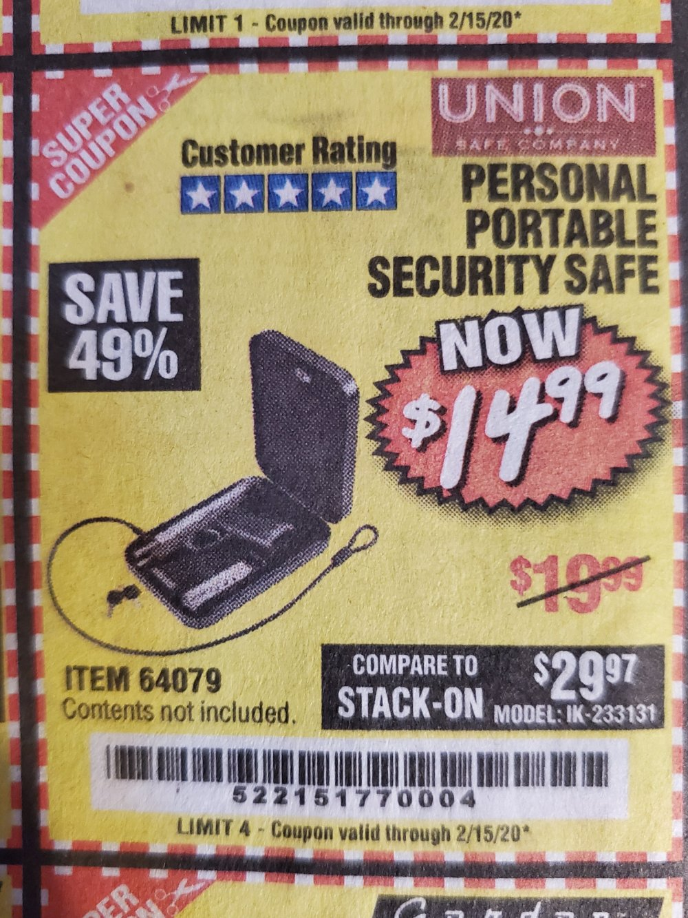 Harbor Freight Coupon, HF Coupons - Personal Portable Security Safe