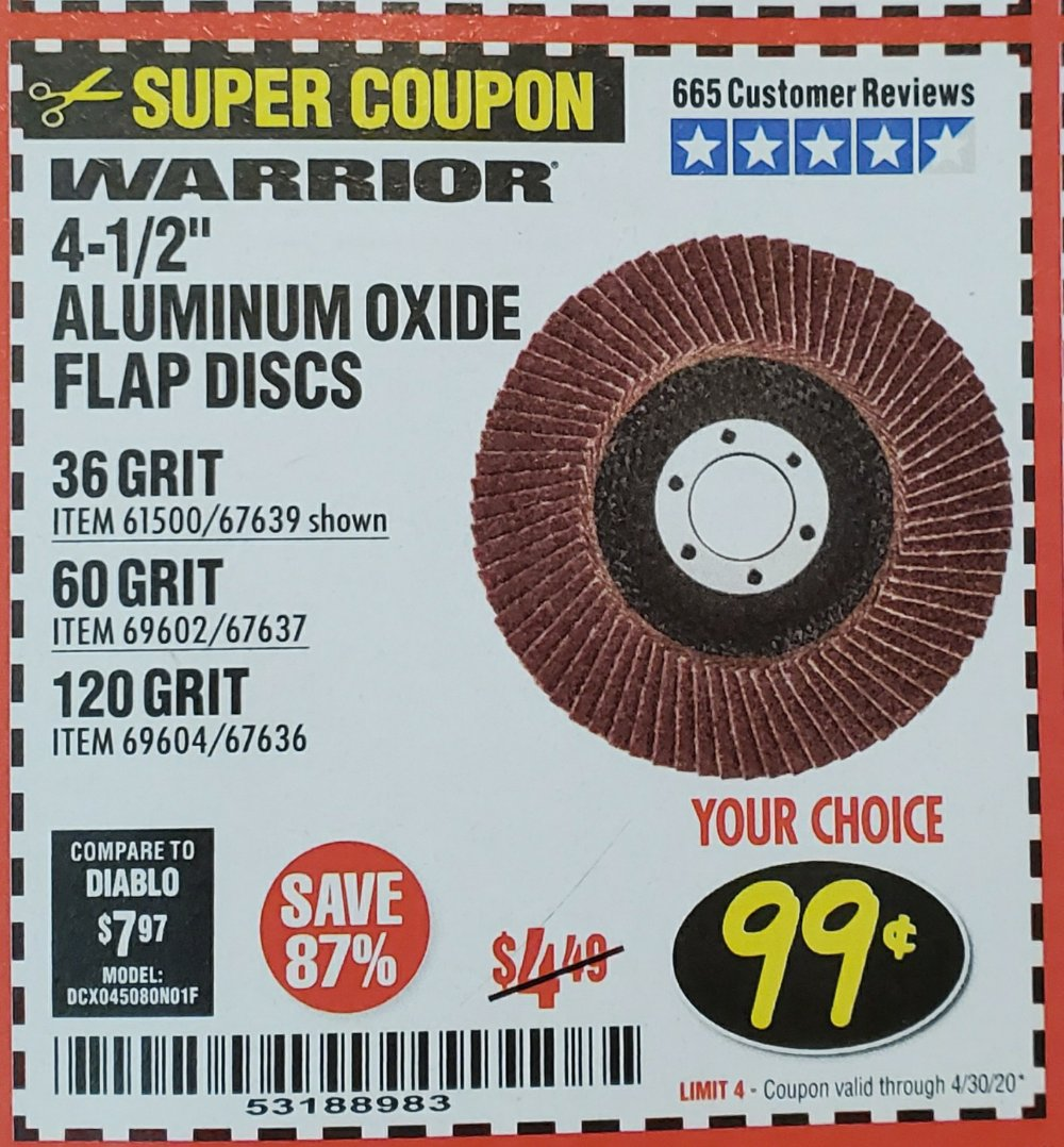 Harbor Freight Coupon, HF Coupons - 4-1/2 In. 36 Grit Flap Disc