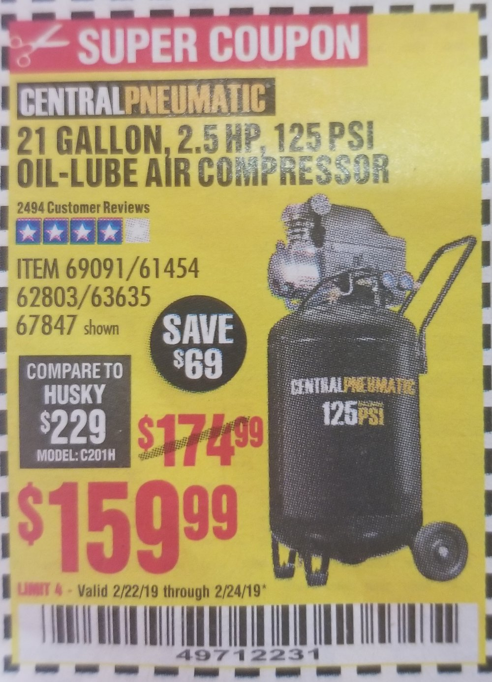 Harbor Freight Coupon, HF Coupons - 21 Gallon Air Compressor