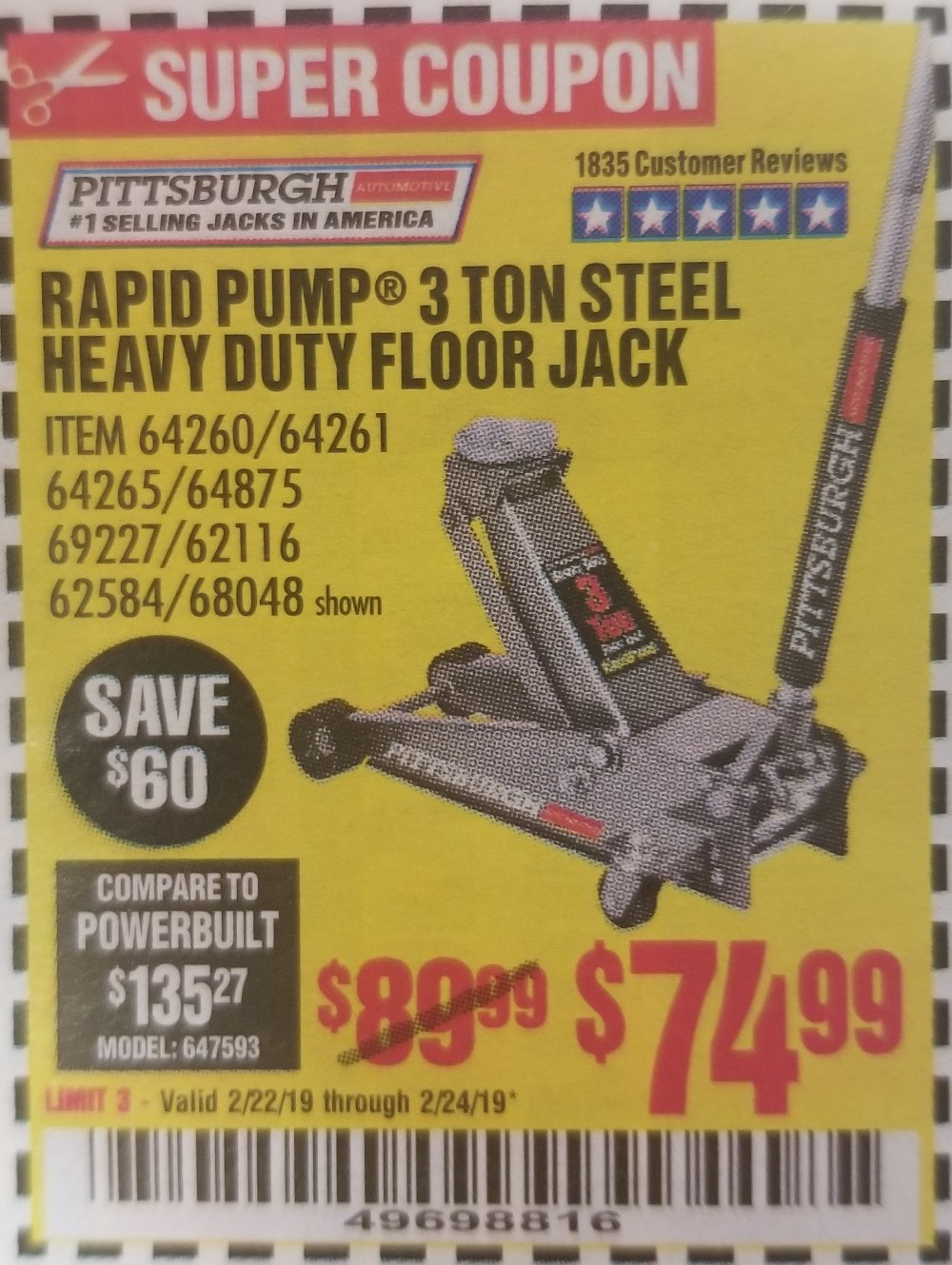 Harbor Freight Coupon, HF Coupons - Rapid Pump 3 Ton Heavy Duty Floor Jack