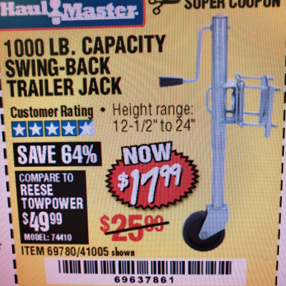 Harbor Freight Coupon, HF Coupons - 1000LB. CAPACITY Swing back trailer Jack