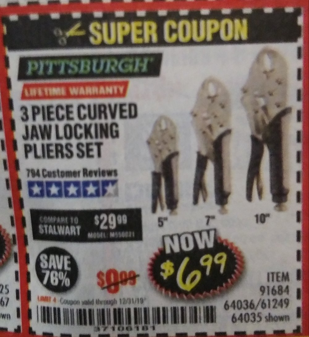 Harbor Freight Coupon, HF Coupons - 3 Piece Curved Jaw Locking Pliers Set