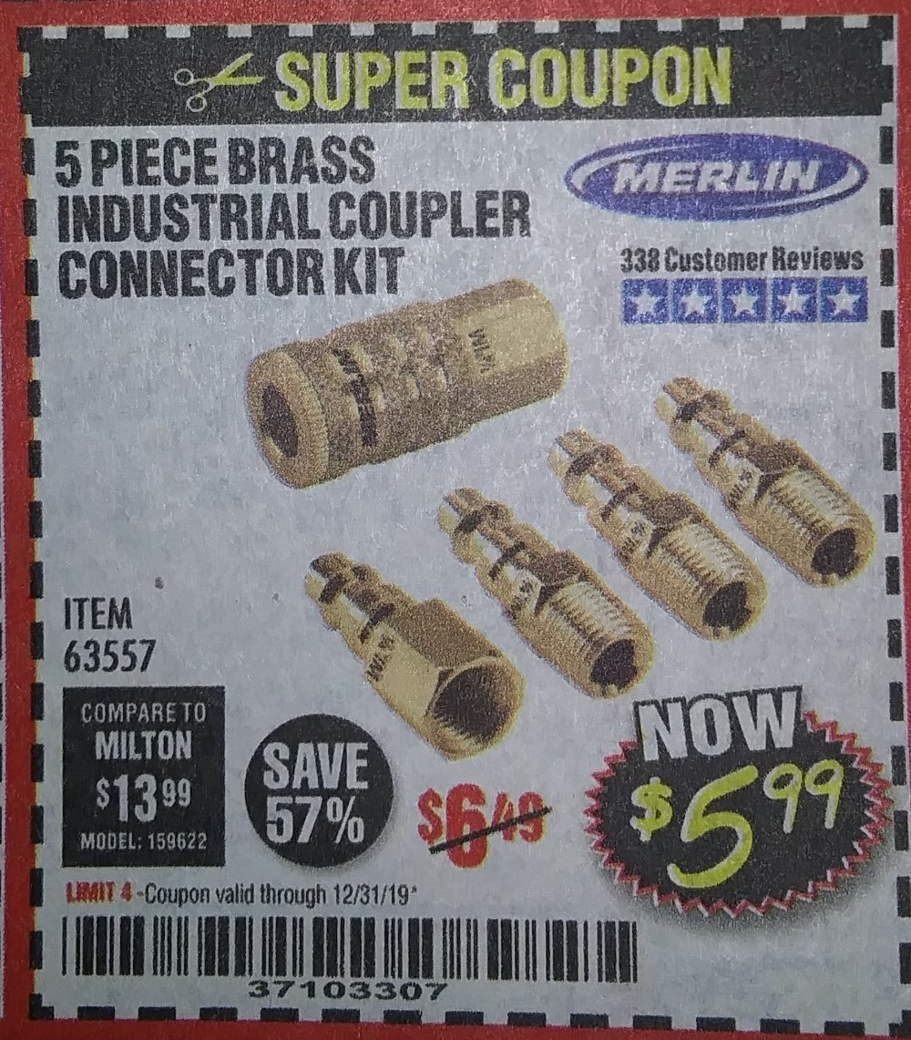 Harbor Freight Coupon, HF Coupons - 5 Piece Brass Industrial Coupler Connector Kit