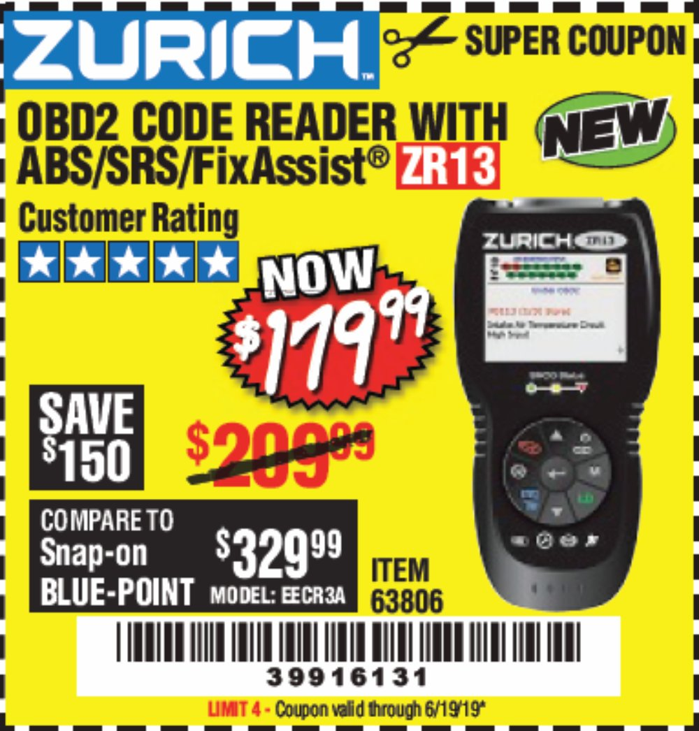 Harbor Freight Coupon, HF Coupons - Zurich ZR13 OBD2 code reader with ABS/SRS/FixAssist
