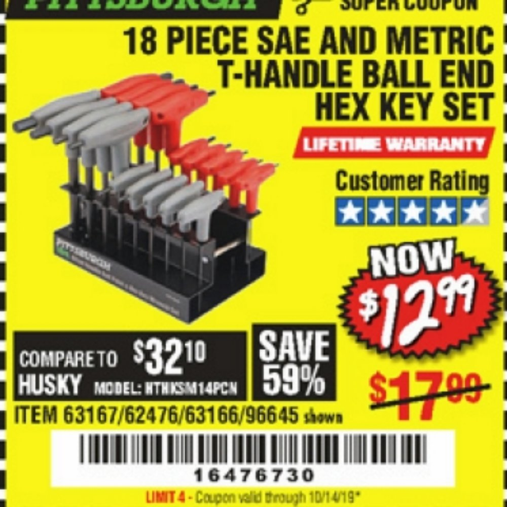 Harbor Freight Coupon, HF Coupons - 18 Piece Sae And Metric T-handle Ball End Hex Key Set