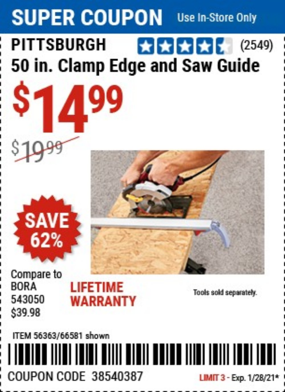 Harbor Freight Coupon, HF Coupons - 50 Clamp Edge And Saw Guide