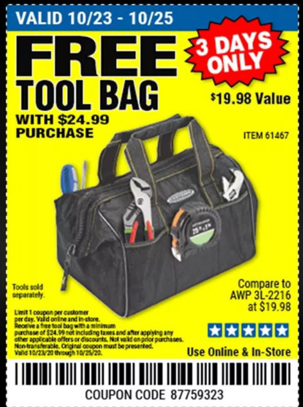Harbor Freight Coupon, HF Coupons - FREE - 12