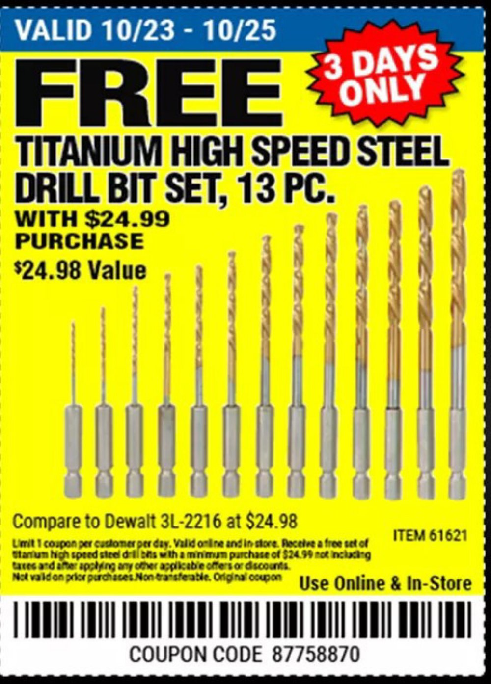 Harbor Freight Coupon, HF Coupons - FREE - 13 Piece Titanium Nitride Coated High Speed Steel Drill Bits