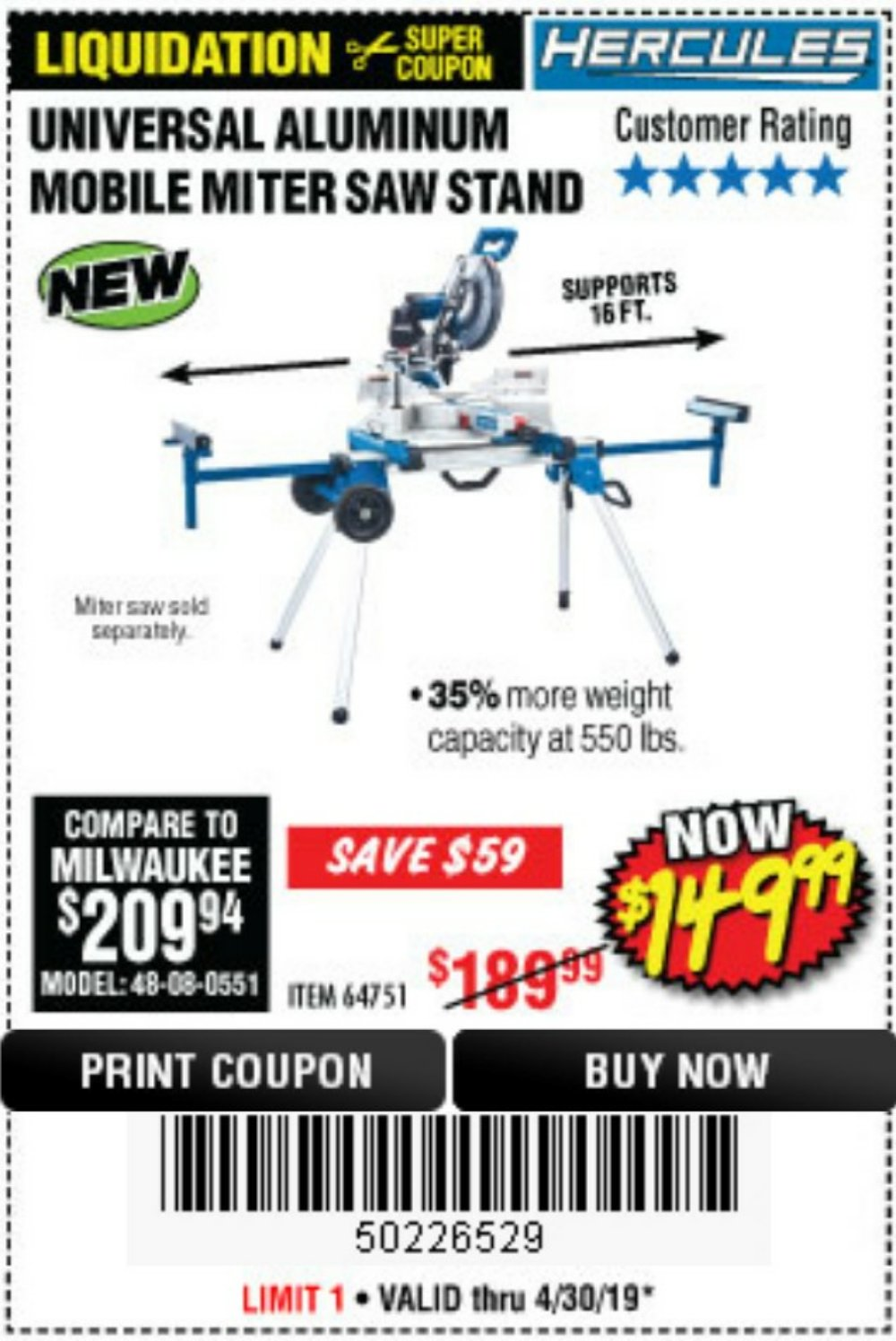 Harbor Freight Coupon, HF Coupons - Hercules Heavy Duty Mobile Miter Saw Stand