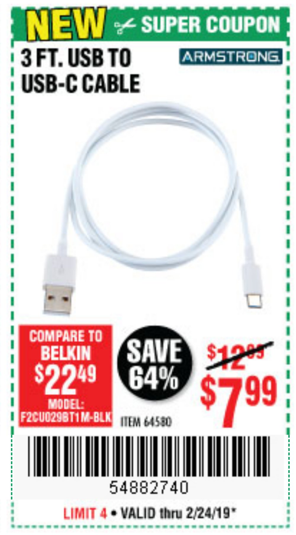 Harbor Freight Coupon, HF Coupons - USB to USB-C Cable