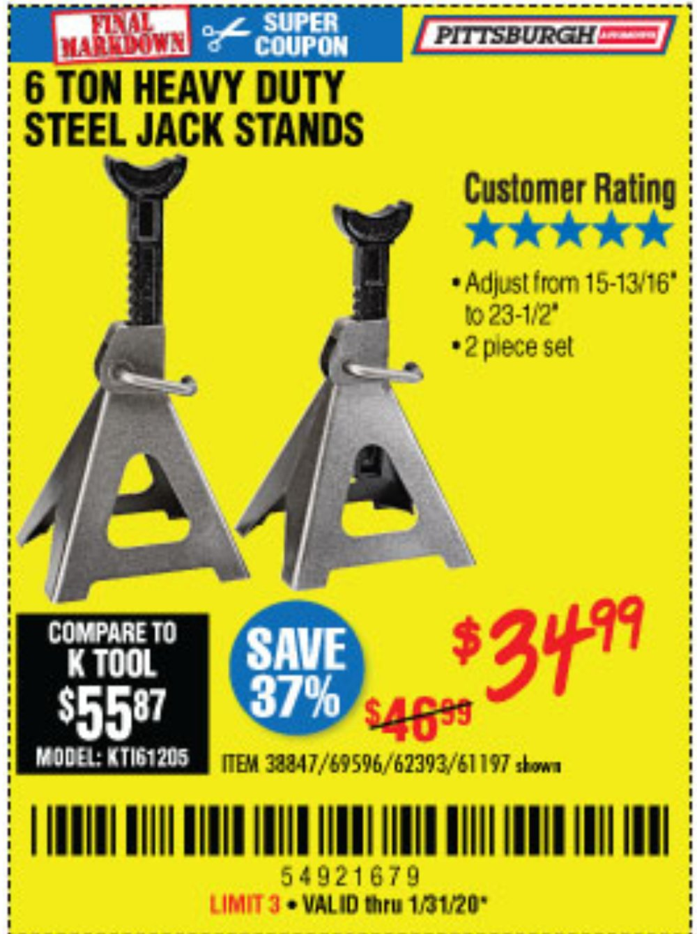 Harbor Freight Coupon, HF Coupons - 6 Ton Heavy Duty Jack Stands