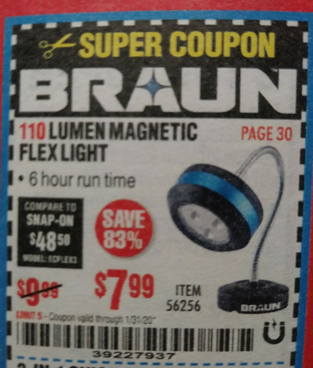 Harbor Freight Coupon, HF Coupons - 110 Lumen Flexible Led Work Light
