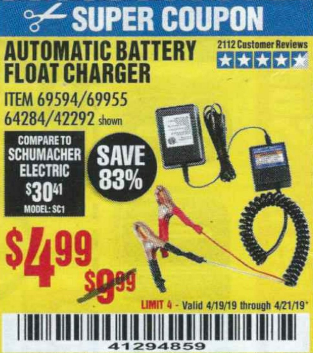 Harbor Freight Coupon, HF Coupons - Automatic Battery Float Charger