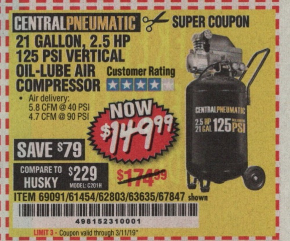 Harbor Freight Coupon, HF Coupons - 2.5 Hp, 21 Gallon 125 Psi Vertical Air Compressor