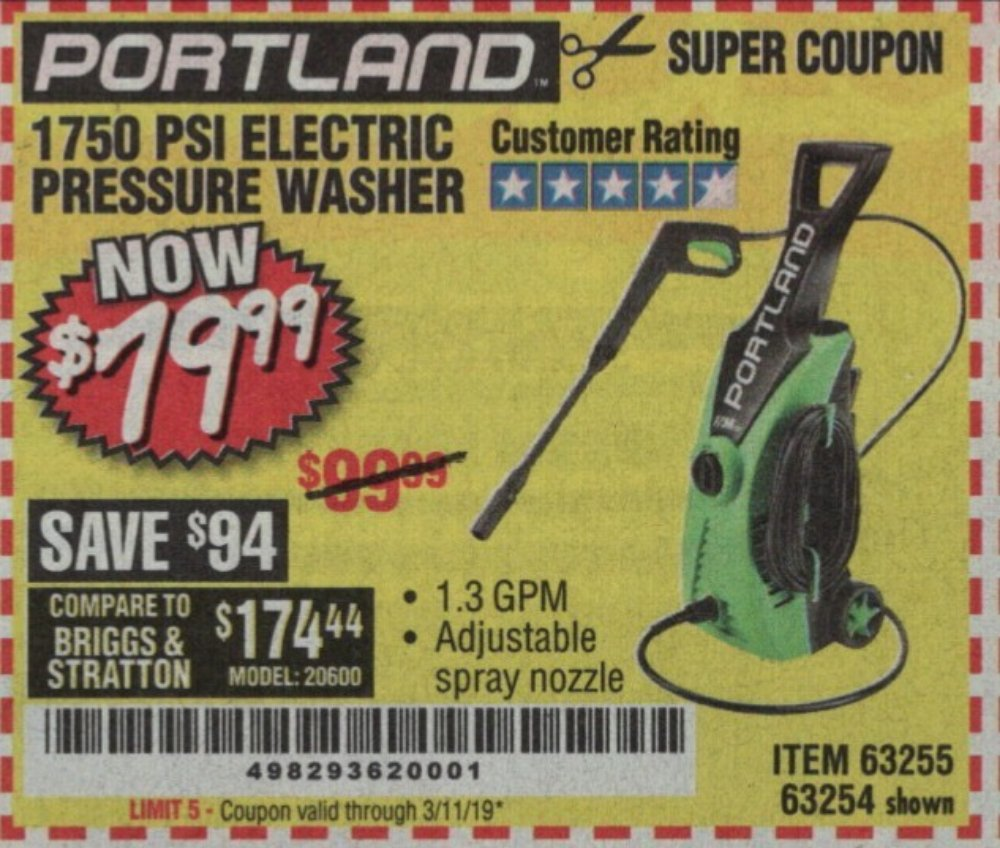 Harbor Freight Coupon, HF Coupons - 1750 Psi Electric Pressure Washer