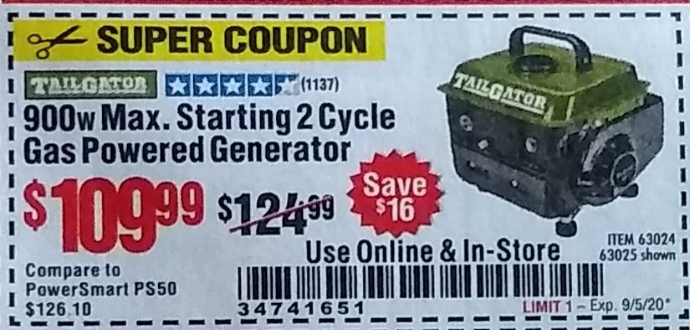 Harbor Freight Coupon, HF Coupons - 900w Max. Starting 2 cycle Gas Powered Generator