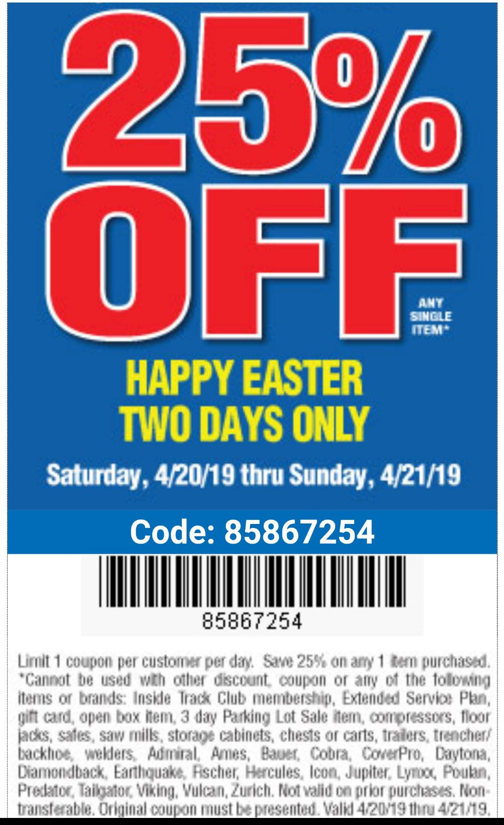 Harbor Freight Coupon, HF Coupons - happy easter 25 percent off