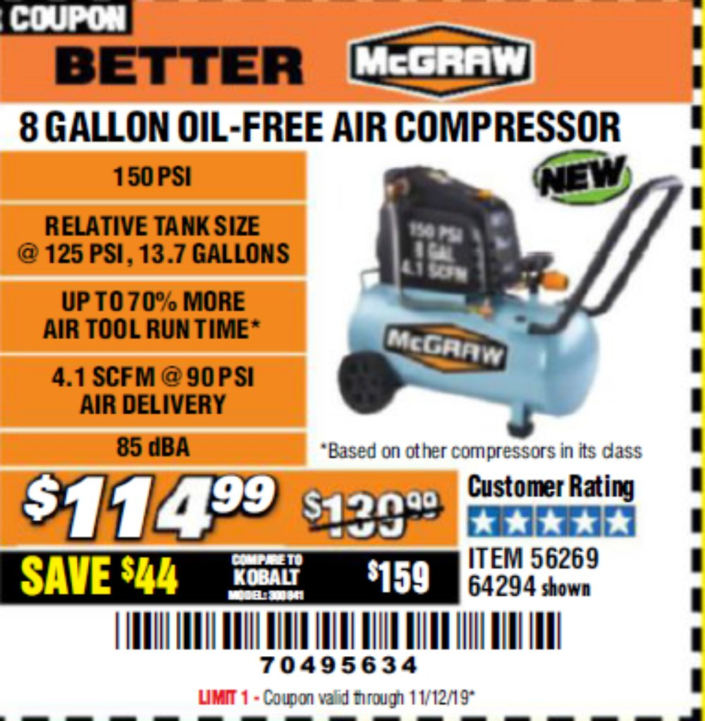 Harbor Freight Coupon, HF Coupons - 8 Gallon Oil-free Air Compressor