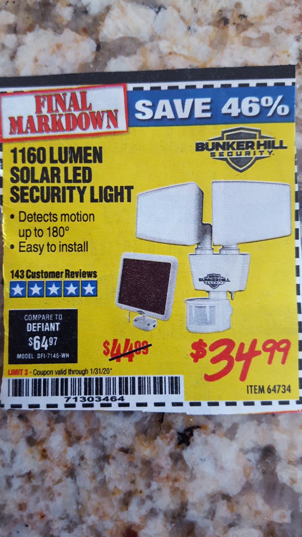 Harbor Freight Coupon, HF Coupons - 1160 Lumens Solar Led Security Light
