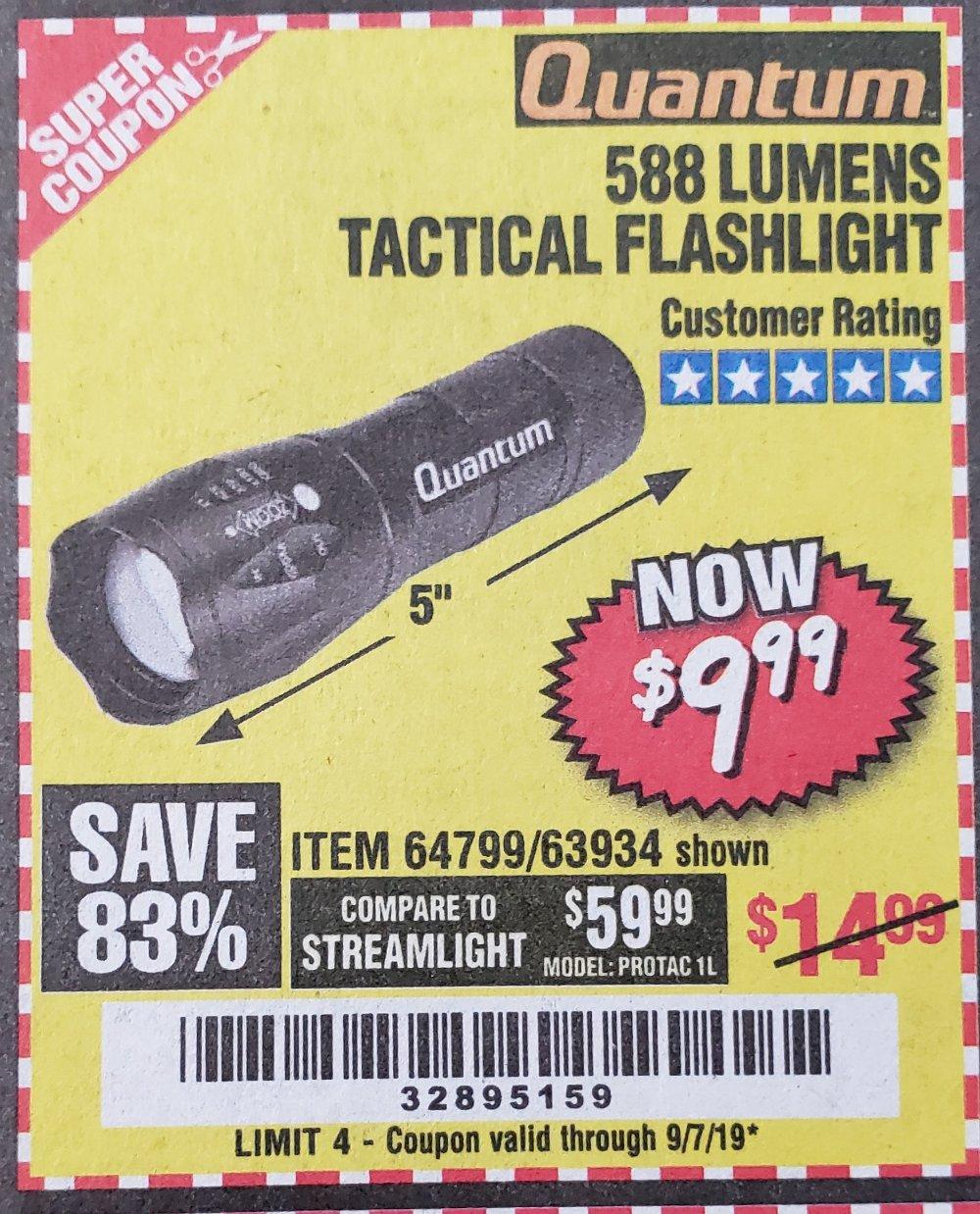 Harbor Freight Coupon, HF Coupons - 588 Lumen Tactical Flashlight