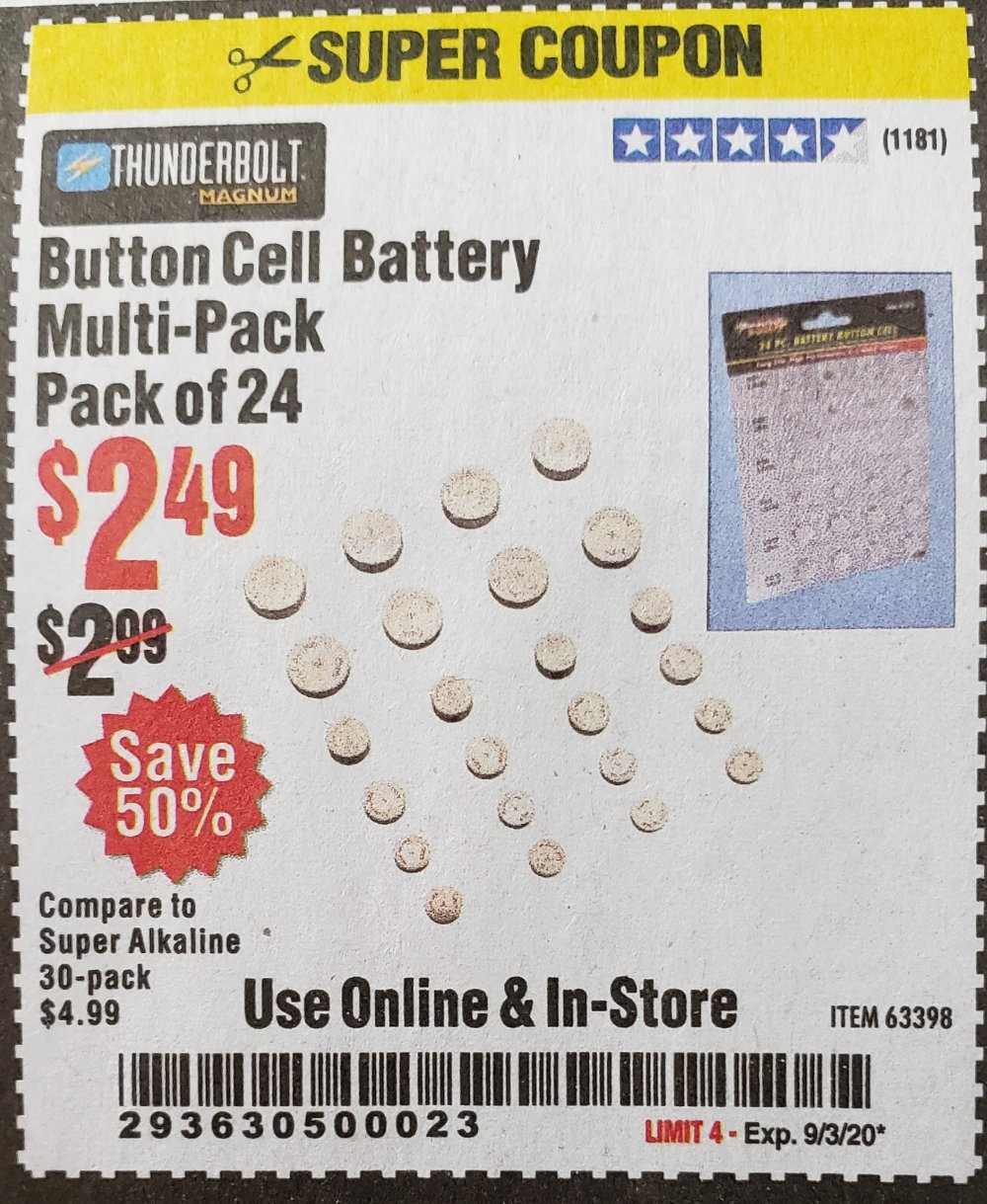 Harbor Freight Coupon, HF Coupons - Button Cell Battery Multi-pack Pack Of 24