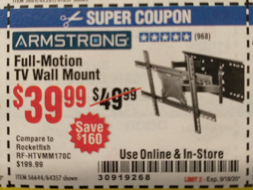 Harbor Freight Coupon, HF Coupons - ARMSTRONG 37 in. to 80 in. Full-Motion TV Wall Mount for $39.99