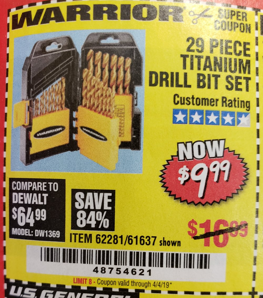 Harbor Freight Coupon, HF Coupons - 29 Piece Titanium Drill Bit Set