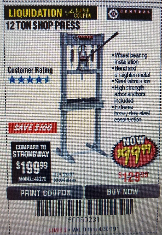 Harbor Freight Coupon, HF Coupons - 12 Ton Shop Press