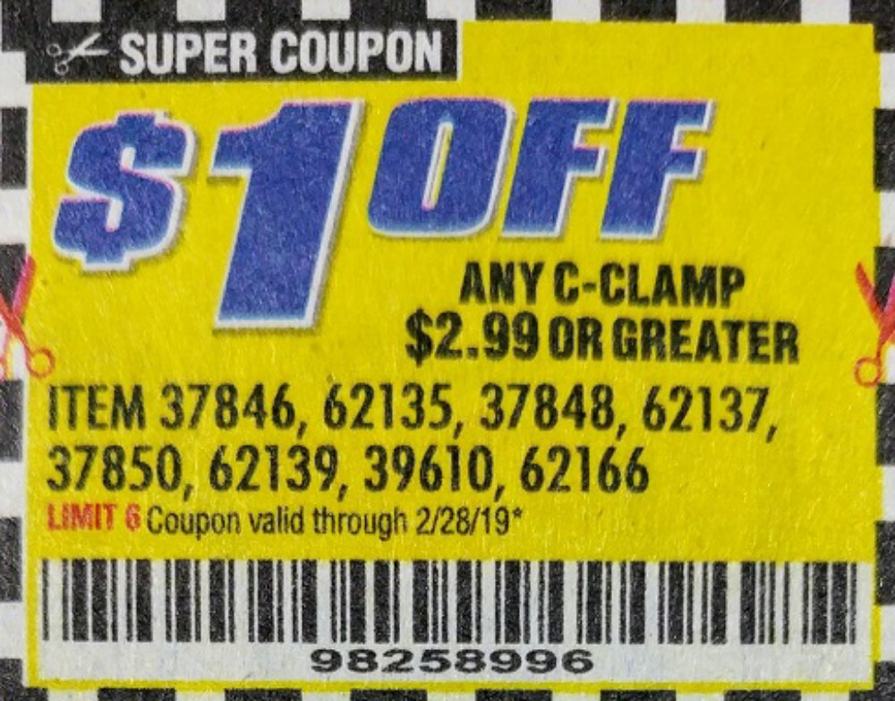 Harbor Freight Coupon, HF Coupons - ANY C-CLAMP, item 37864,62135,37848,62137,37850,62139,39610,62166