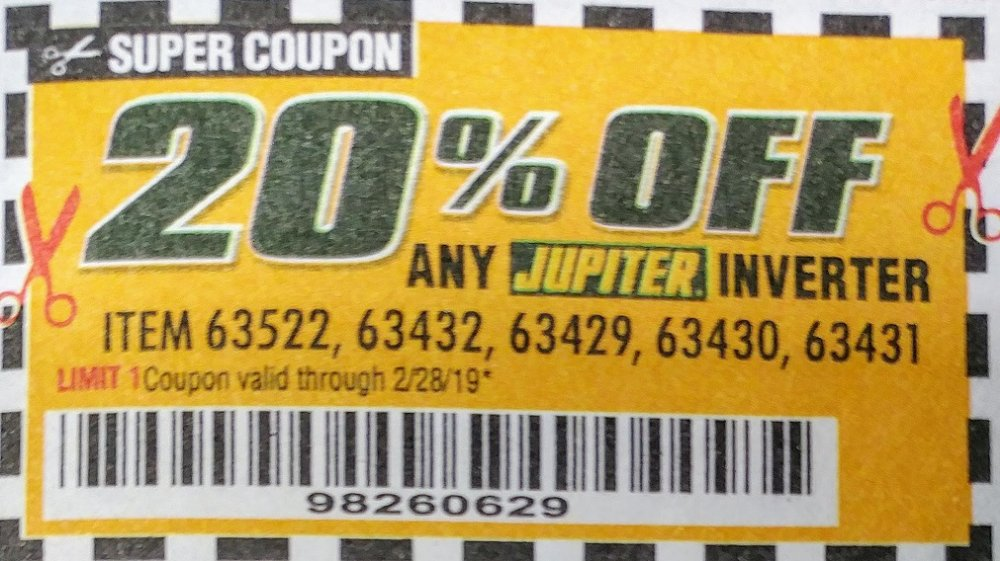 Harbor Freight Coupon, HF Coupons - ANY Jupiter Inverter,item 63522,63432,63429,63430,63431