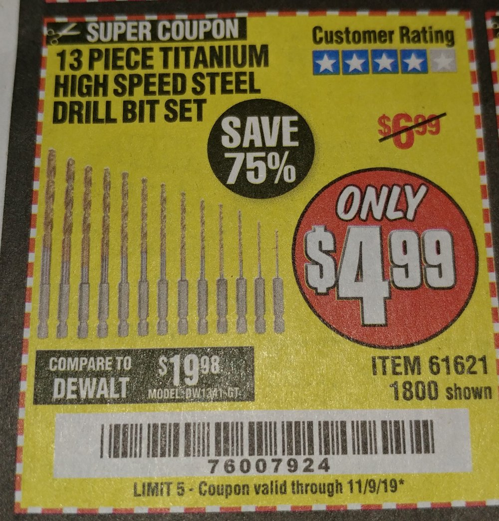 Harbor Freight Coupon, HF Coupons - 13 Piece Titanium Nitride Coated High Speed Steel Drill Bits