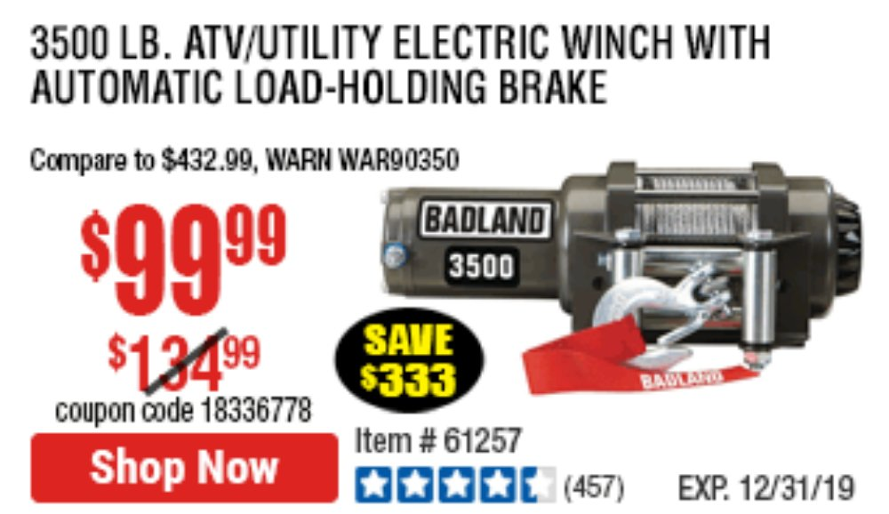 Harbor Freight Coupon, HF Coupons - 3500 Lb. Electric Winch With Remote Control And Automatic Brake