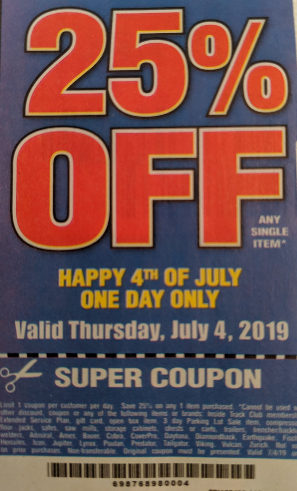 Harbor Freight Coupon, HF Coupons - 25% off - July 4th Only